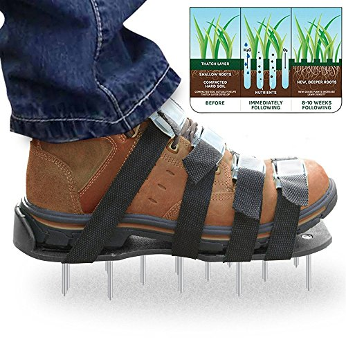 MoYag Lawn Aerator Shoes, Universal Size,Adjustable Straps,4 Aluminum Alloy Buckles Spiked Aerating Lawn Sandals, 26 Nails Aerating Your Lawn Yard by MoYag