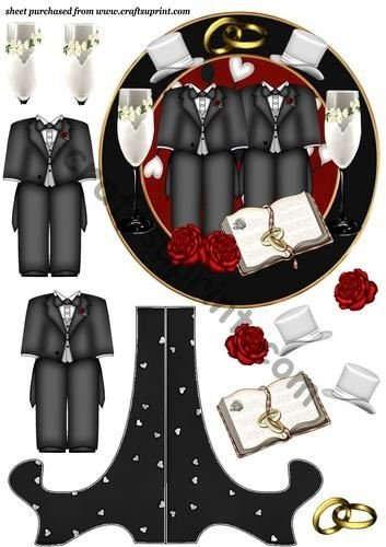 Male civil wedding plate sheet by Sharon Poore