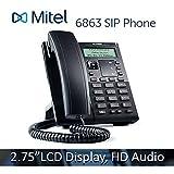Mitel 6863 6863i 2-line VoIP Phone - 2.75'', 128x48 pixel LCD Display HD Audio SIP Office IP Softphone 80C00005AAA-A
