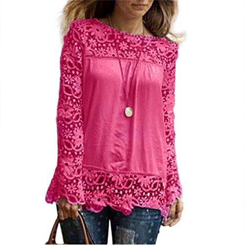 iTLOTL Fashion Womens Long Sleeve Shirt Casual Lace Blouse Loose Cotton Tops T Shirt(US:16/CN:XXXXL, Hot Pink)