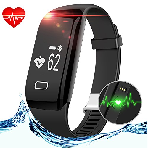 Smart Fitness Tracker, Anmier Heart Rate Fitness Watch Step Track & Sleep Monitor�Activity Tracker Waterproof Touch Screen Pedometer Calorie Counter Fitness Bracelet for iPhone & Android phones