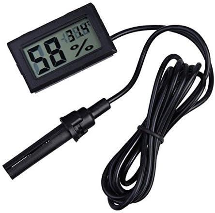 WINGONEER® 2-en-1 Digital LCD Embedded termómetro higrómetro con Externo para reptiles Incubadora acuario Aves - Negro