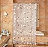 YJBear PEVA Coffee Circle Printed Mildew Resistant Shower Curtain Anti-Bacterial Bath Decor Waterproof Home Decoration Thin Bathroom Curtain 79'' X 79''