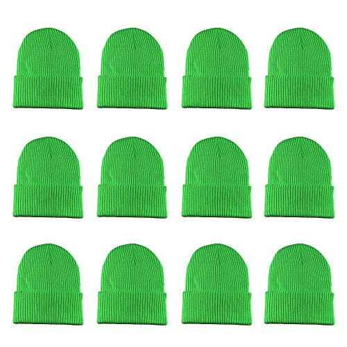 (Gelante Unisex Beanie Cap Knitted Warm Solid Color and Multi-Color Multi-Packs (12 Pack: Glitter Neon Green))