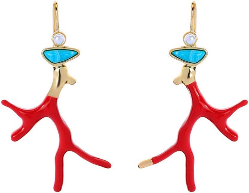 suoryisrty 1 par de aretes de Esmalte Rojo Cornamenta de Coral Rama de acrílico Pendientes de Gota joyería de Moda Chica