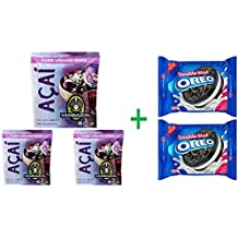 Sambazon Unsweetened Pure Acai Berry Smoothie Packs, 4 ea (Pack Of 3) + 2 Nabisco Oreo Double Stuf Chocolate Sandwich Cookies 15.35 oz