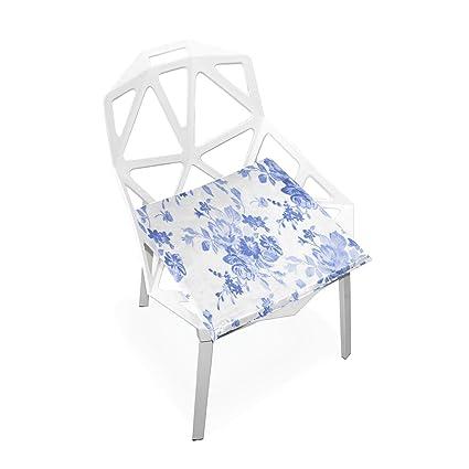 Amazon.com: Cojín de asiento con diseño floral azul para ...