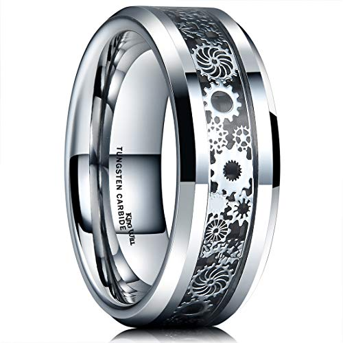 King Will Mens 8mm Tungsten Carbide Ring Silver Gearwheel Black Carbon Fiber Inlay Wedding Band 13 (Mens Ring Gear)