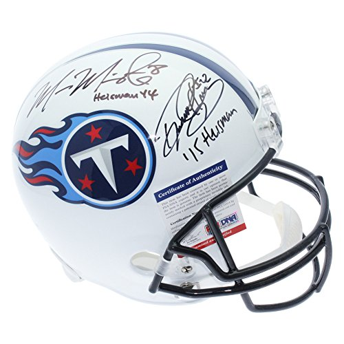 Marcus Mariota and Derrick Henry Tennessee Titans Autographed Full Size Replica Helmet with Heisman Years Won Inscriptions - PSA/DNA (Autographed Nfl Replica Helmet)