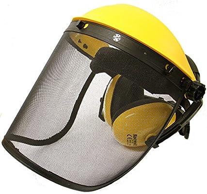 Protector facial con visera de malla y con protectores auditivos ...