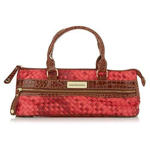 Samantha Brown Basketweave Insulated Wine Purse - Burgundy (Croco Mini Embossed)