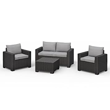 Amazon.de: Allibert California Lounge Set Polyrattan Gartenmöbel ...