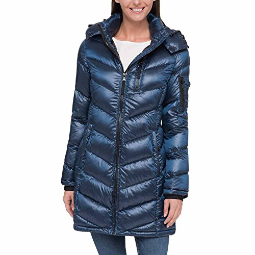 Andrew Marc Ladies' Long Down Jacket (Pearlized Urban Blue, X-Small)