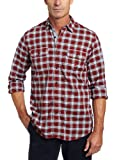 Nautica Men's Long Sleeve Tartan Plaid Shirt, Nautica Red, Large