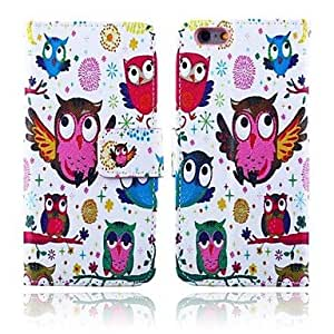 JAJAY Owl Party Pattern PU Leather Full Body Cover with Card Slot for iPhone 6 Plus