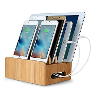 Upow Bamboo Multi-device Cords Organizer Stand and Charging Station Docks for Smart Phones and Tablets