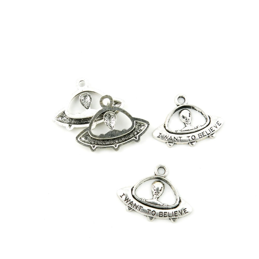 480 Pieces Antique Silver Tone Jewelry Making Charms A5LN2 Alien UFO ET Pendant Ancient Findings Craft Supplies Bulk Lots