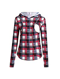 Aritone Women's Pregnant Maternity Nursing Plaid Hoodie Sweatshirt Breastfeeding Tops Blouse Clothes