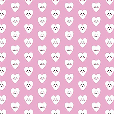 Baocicco Cute Hearts Backdrop 7x7ft Photography Background White Illustration Pink Smiling Face Children Girl