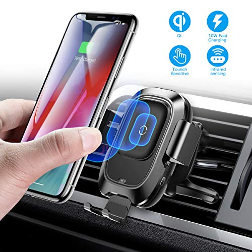 Baseus Wireless Car Charger Mount, 10w Automatic Clamping Air Vent Qi Fast Charging Car Phone Holder Compatible with iPhone Xs/Xs Max/XR/X, Galaxy Note 9/ S9/ S9+ & Other Qi-Enabled 4.7-6.5Inch (Galaxy Note 4 Car Mount)