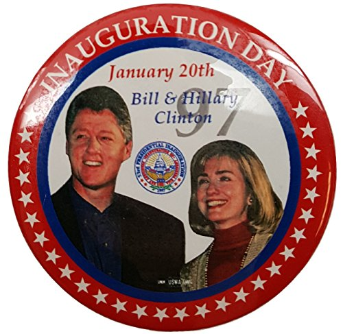 Original 1997 Bill Clinton & Hillary Clinton Inauguration Day Button - Inauguration Pinback Button