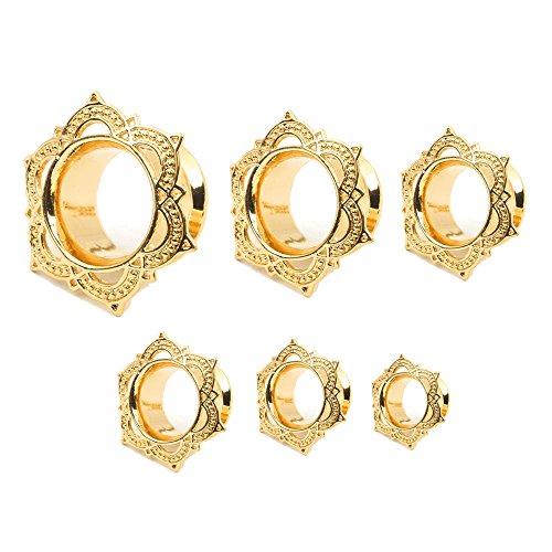 6 pcs Stainless Steel Ear Gauges Screwed Flesh Tunnels Plugs Earlets Expander Stretcher Body Piercing Jewellry Golden