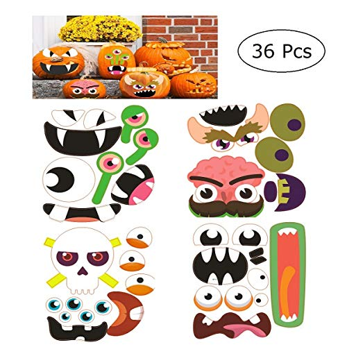 JANOU Halloween Pumpkin Stickers Funny Pumpkin Crafts Decorations for Happy Halloween Party Suppliers Pack 12 Sheets, 36 -
