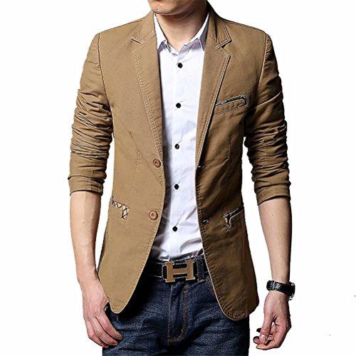 Men's Blazer Jacket Slim Fit One Button Sport Coat Notch Lapel Casual Business Solid Single Breasted Outwear (Yellow, Medium) - Blazer Brown