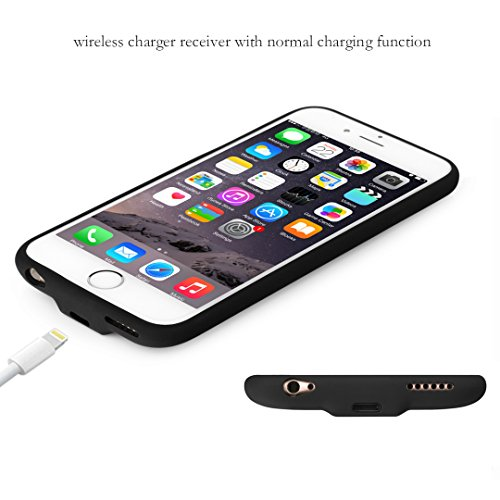 Seekermaker iPhone 6 6s Case,Qi Wireless Charger Receiver Case with  Lightning Connector for iPhone 6/6s black
