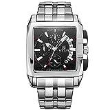 Fashion Mans Business Stainless Steel Strap Waterproof Analog Black Dial Quartz Watch with Calendar Wirstwatch