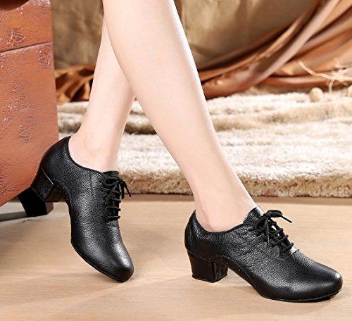 Leather Black Shoes up Women's Tango Dance Classic Samba Holes Salsa with Rumba Lace Modern Ballroom TDA Latin q6IUBHwRw