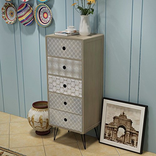 Retro Style Storage Drawer Tallboy, Bedroom Furniture, Gray by HomeSweet