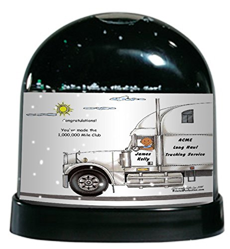 Personalized Friendly Folks Cartoon Caricature Snow Globe Gift: Truck Driver, 18 Wheeler - Male Great for long haul trucking, over the road, cross country trucker