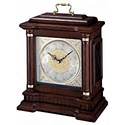 Seiko Dark Brown Carriage with Chime, Pendulum, Metal Accents & Brass Handle
