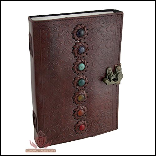 Seven Chakra Medieval Stone Leather Journal Embossed Handmade Book of Shadows Notebook Office Diary College Book Poetry Book Sketch Book 07 x 10 Inche…