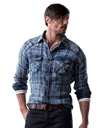 Ryan Michael - Double Face Plaid, Slanted Yokes, Buffalo Snaps Western Shirt