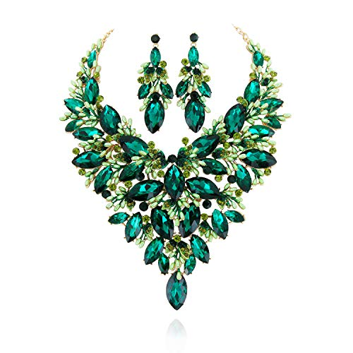 SP Sophia Collection Austrian Crystal Women's Peacock Flair Necklace Earrings Jewelry Set in Gold Green