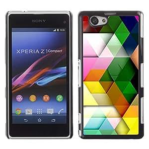 iBinBang / Funda Carcasa Cover Skin Case - Patrón Polígono Pastel Colorido 3D - Sony Xperia Z1 Compact D5503