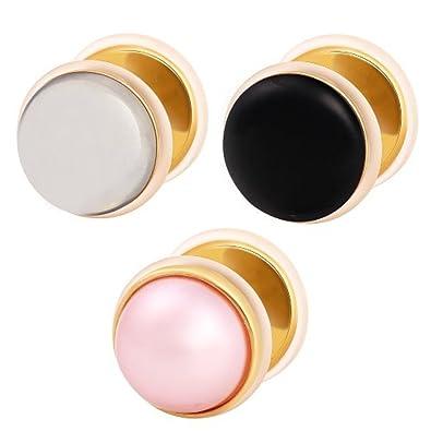 SkinArt Dilatador Falso Piercing Plug Dorado, Pendiente, Perla, Color:Rosa: Amazon.es: Joyería