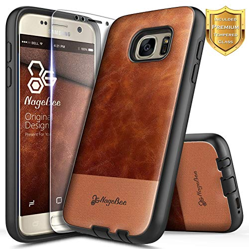 (Galaxy S6 Case with Tempered Glass Screen Protector, NageBee Premium [Cowhide Leather] Snap-On Heavy Duty Shockproof Dual Layer Hybrid Defender Rugged Durable Case for Samsung Galaxy S6 -Brown )