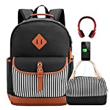 Meisohua Girls School Backpacks Set Canvas Backpack with USB Charg Port Women Laptop Bags Bookbags with Lunch Bag (Black Set)