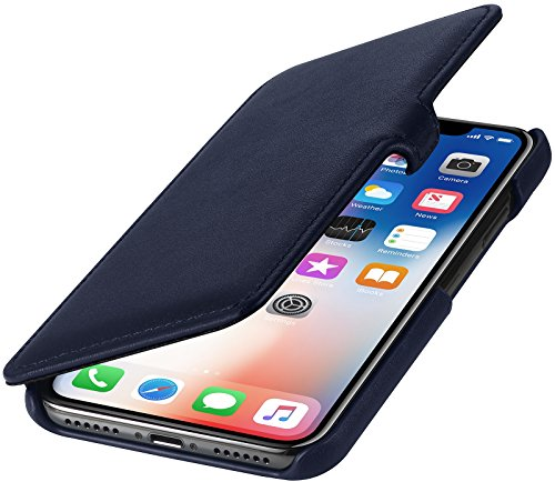 取り出すスポットミシンStilGut 本革 手帳型 カバー Apple iPhoneX & iPhoneXs マグネット無し 全面保護 薄型 レザー ケース クリップ付 ダークブルー ナッパレザー