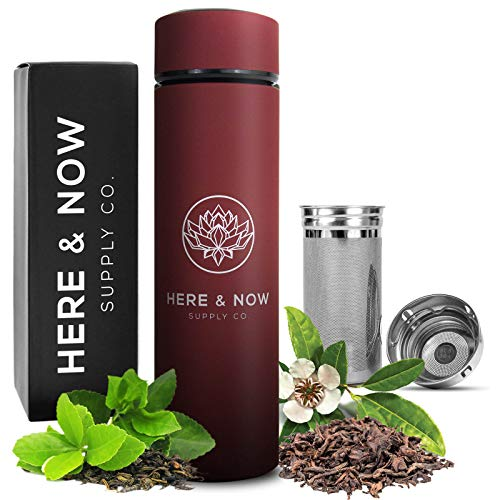 Multi-Purpose Travel Mug and Tumbler | Tea Infuser Water Bottle | Fruit Infused Flask | Hot & Cold Double Wall Stainless Steel Coffee Thermos | EXTRA LONG INFUSER | by Here & Now Supply Co. (Red) (Thermos Tea Tumbler)