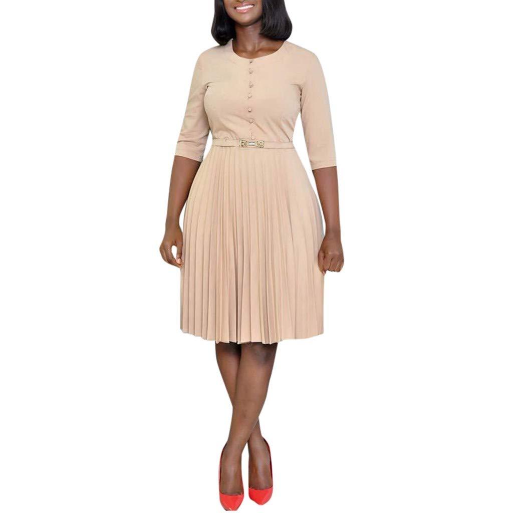 Short Sleeve Ruffle Dress Respctful Women V Neck Button Ruffle Loose Swing Casual Mini Dress Beige by Respctful Women's Clothing