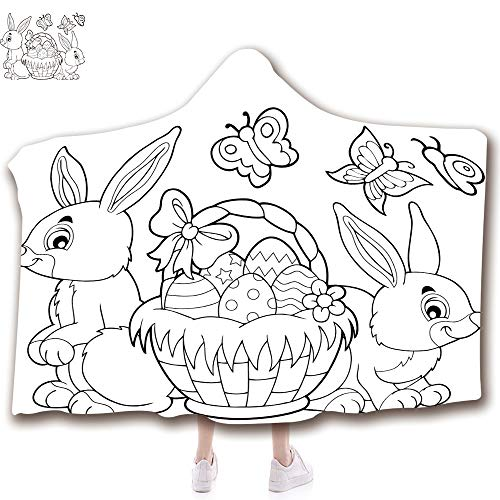 """Wearable Hooded Blanket Fashion 3D Printed Design Flannel Blanket with Hood Adults Kids (43""""H x 59""""W) Blankets,Coloring Book Easter Basket and Rabbits"""