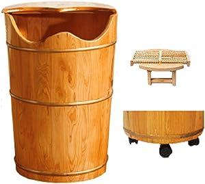 Wooden Foot Basin,Solid Cedar Wood Foot Basin Tub Bucket for Foot Bath,Pedicure Bowl Spa Massage Wooden Foot Tub,with Lid with Massager
