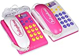 Fashionable Twin Telephones Wired Intercom Children's Kid's Toy Telephone Set W/ 2 Telephones, Ringing Sound, Talk to Each Other, Electronic Toys,Toy Electronics for Children