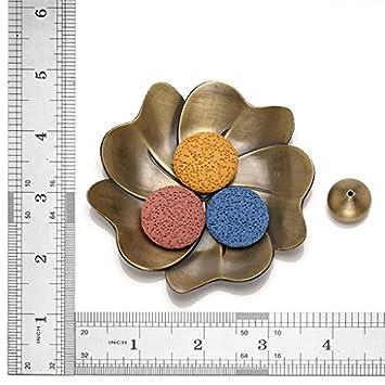 Jovivi 14 pcs Lava Stone Beads for Essential Oils W//Sakura Brass Incense Burner Stick Incense Holder Aromatherapy Diffuser Decoration Set