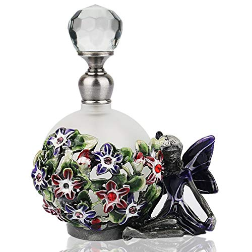 YUFENG Decorative Glass Perfume Bottle w/Pewter Angel and Flower Figurine Small Frosted Glass Scented Fragrance Essential Oil Container