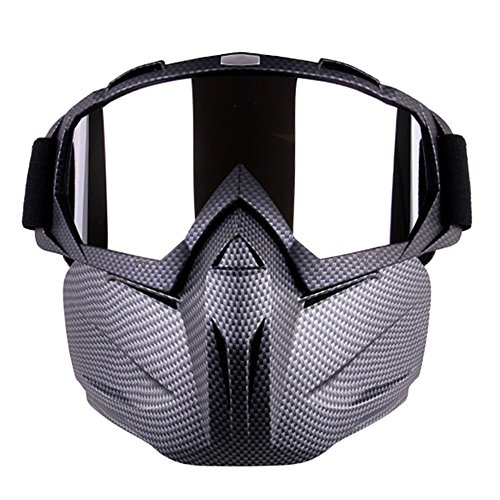 Motorcycle Goggles Mask for Airsoft/CS/Paintball/Skiing/Riding/Cycling/Halloween/Costume Ball-UV Proof Windproof Anti-fog Protective Detachable Adjustable Tactical Glasses (Snakeskin Pattern) -